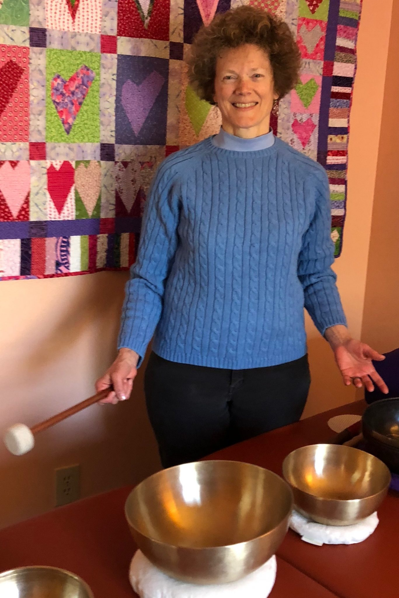 Margaret posing with bowls