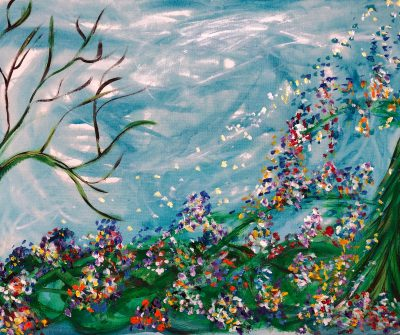 painting with a bare tree on the left and lots of flowers