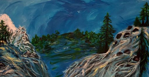Impressionist painting of mountain waters with trees and blue sky